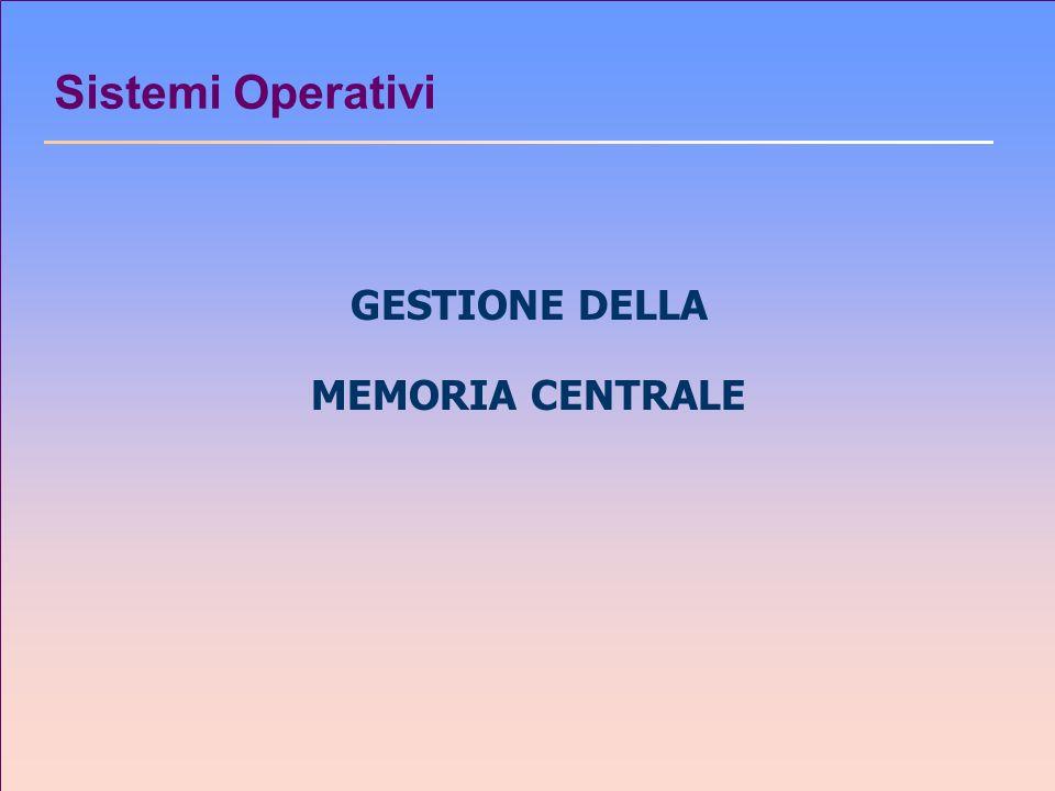 Sistemi Operativi GESTIONE DELLA MEMORIA CENTRALE
