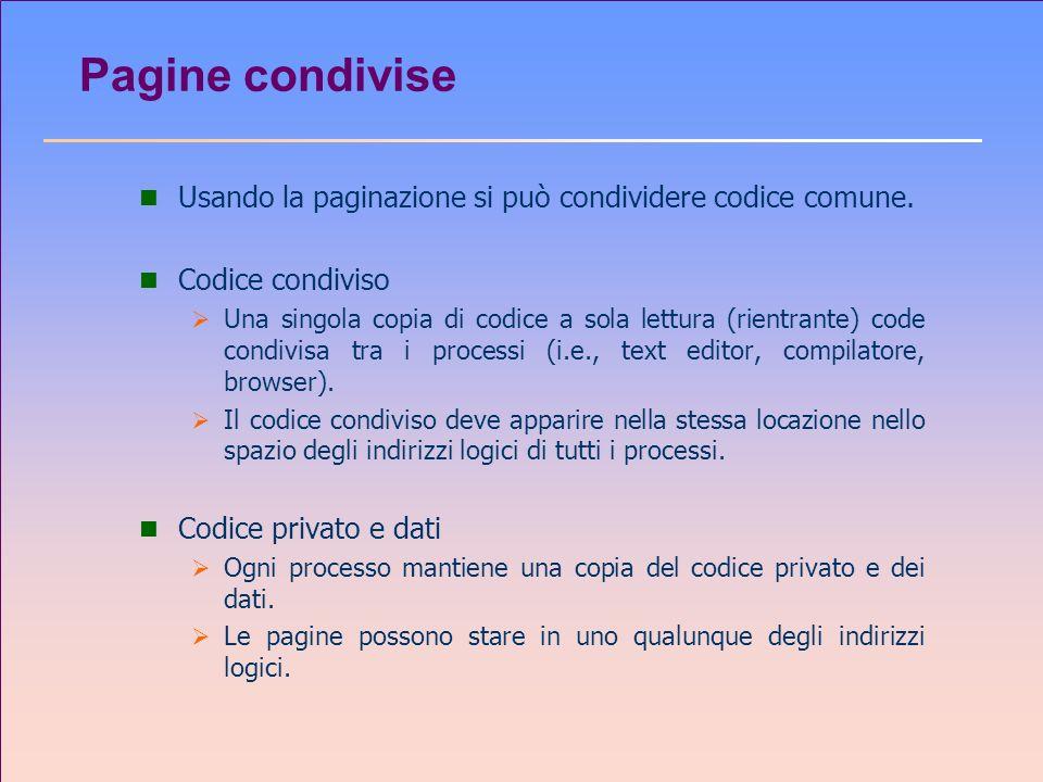 Pagine condivise Usando la paginazione si può condividere codice comune. Codice condiviso.