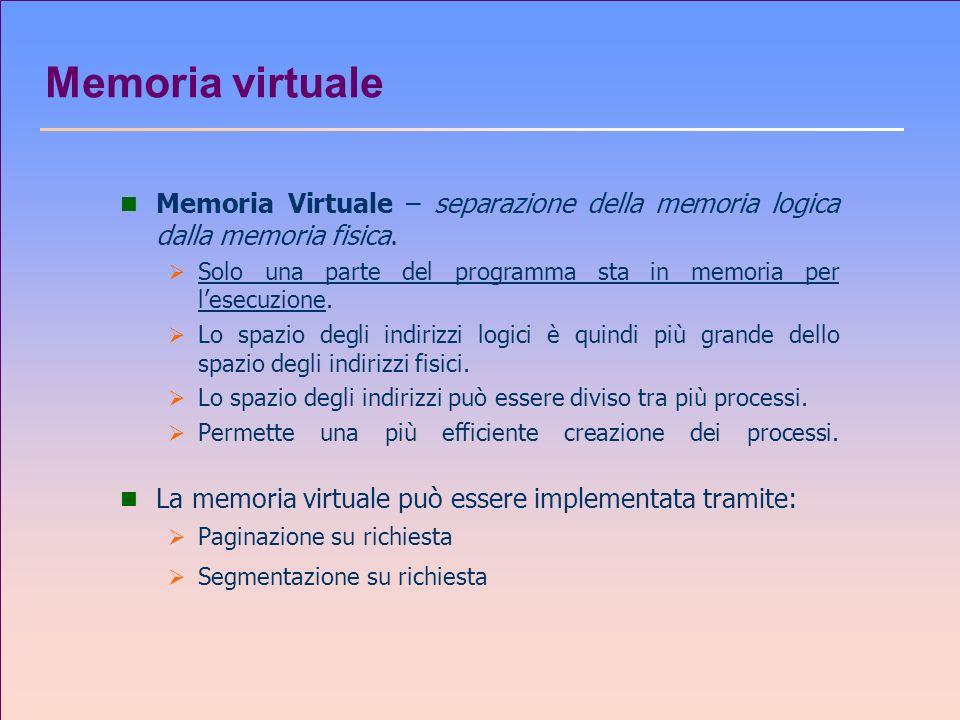 Memoria virtuale Memoria Virtuale – separazione della memoria logica dalla memoria fisica.