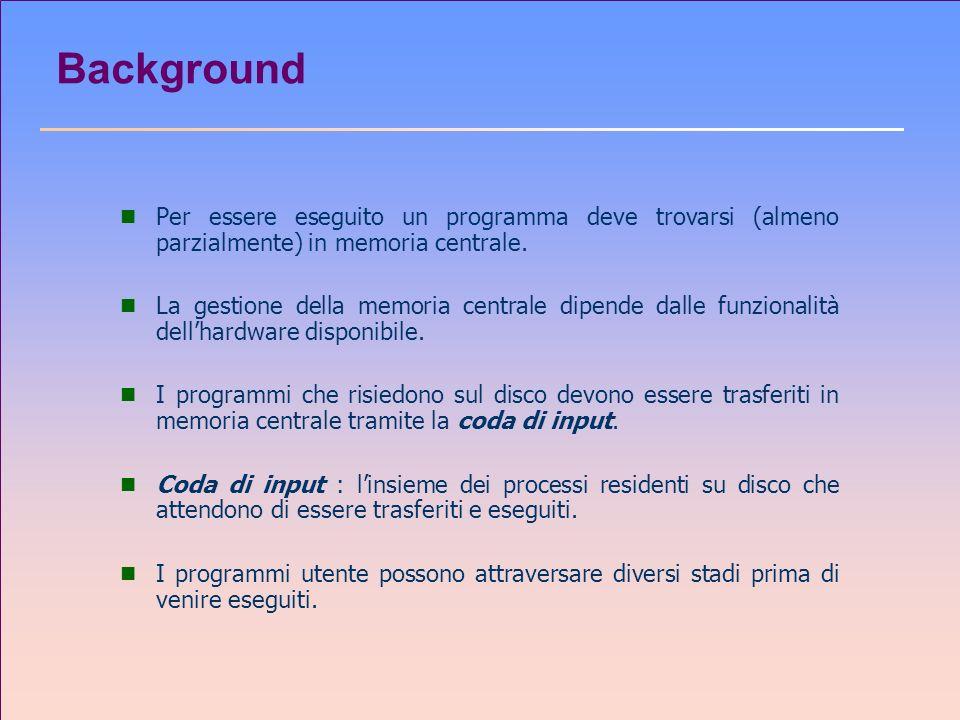 Background Per essere eseguito un programma deve trovarsi (almeno parzialmente) in memoria centrale.