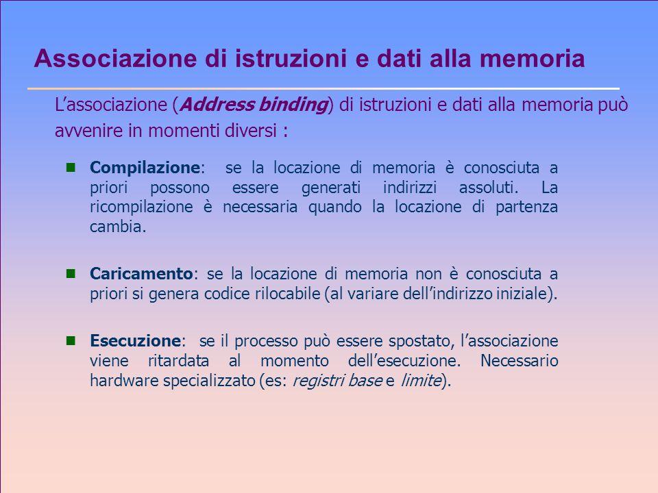 Associazione di istruzioni e dati alla memoria