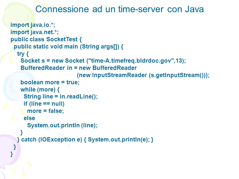 Connessione ad un time-server con Java
