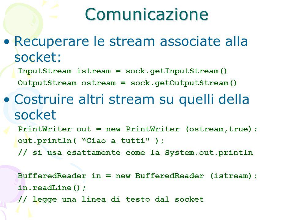 Comunicazione Recuperare le stream associate alla socket: