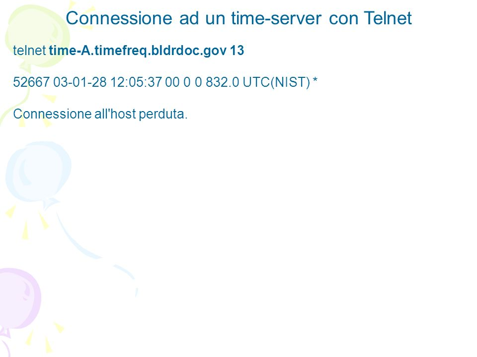 Connessione ad un time-server con Telnet