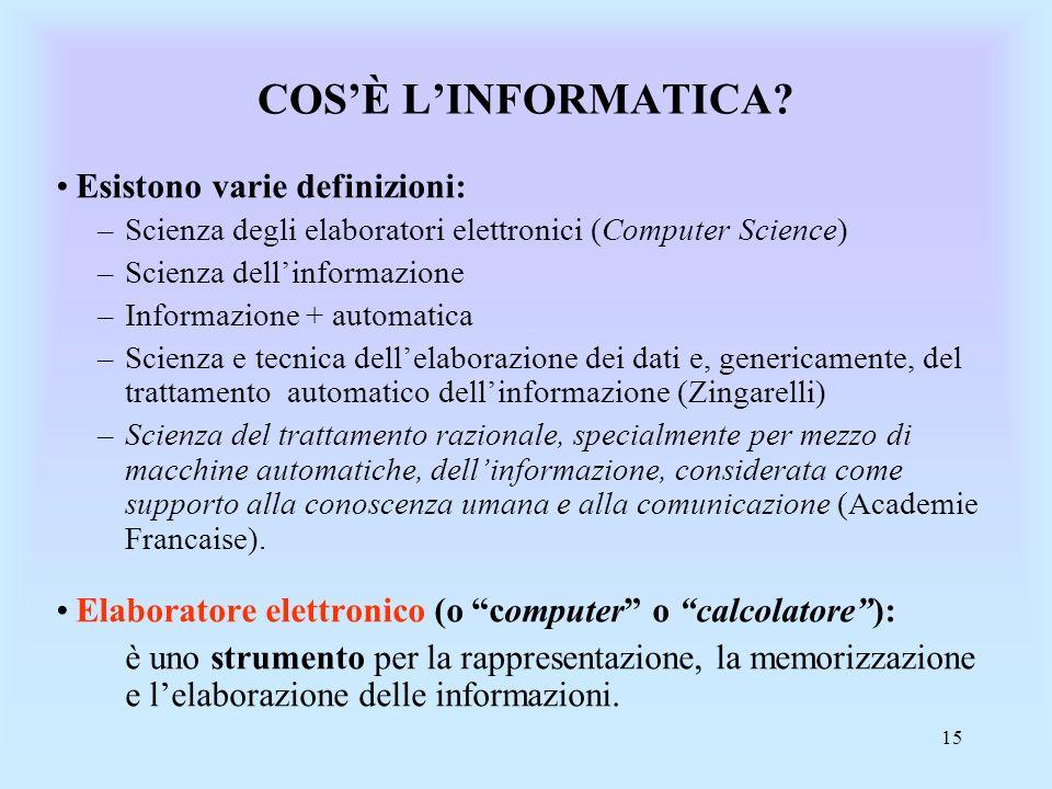 COS'È L'INFORMATICA Esistono varie definizioni: