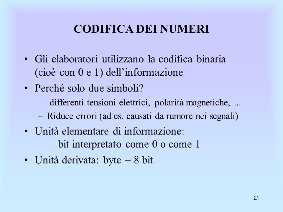 CODIFICA DEI NUMERI Gli elaboratori utilizzano la codifica binaria (cioè con 0 e 1) dell'informazione.
