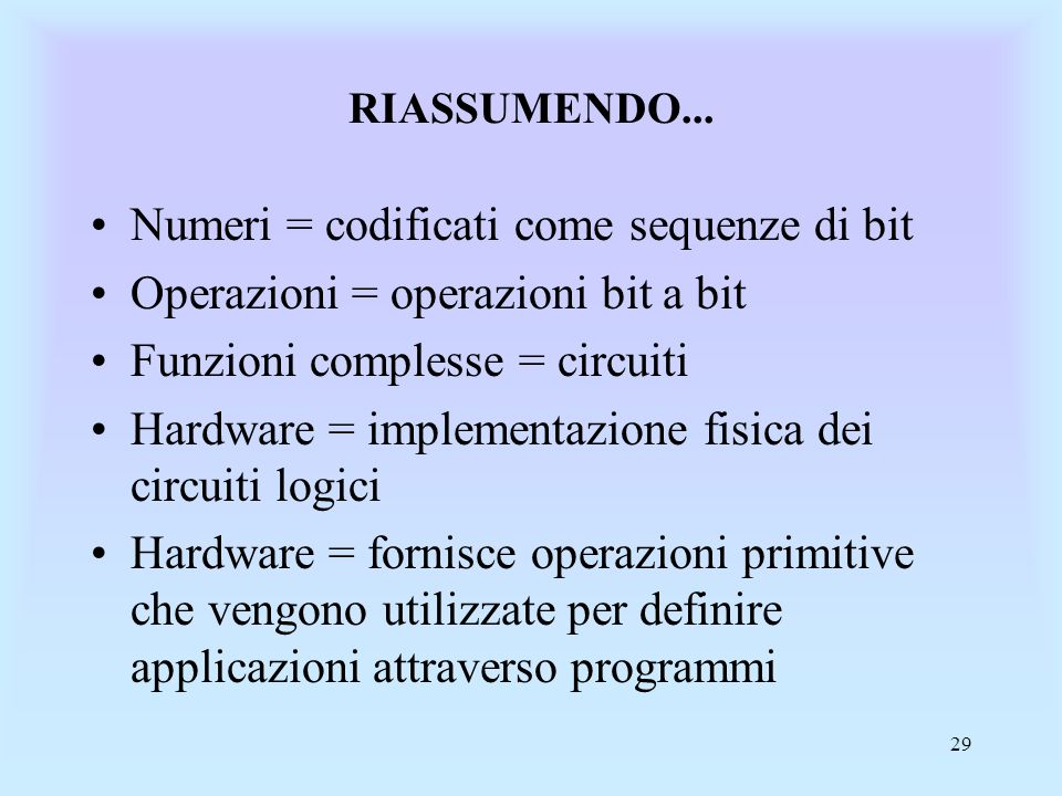 Numeri = codificati come sequenze di bit