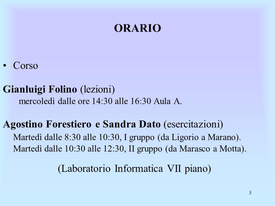 ORARIO Corso Gianluigi Folino (lezioni)
