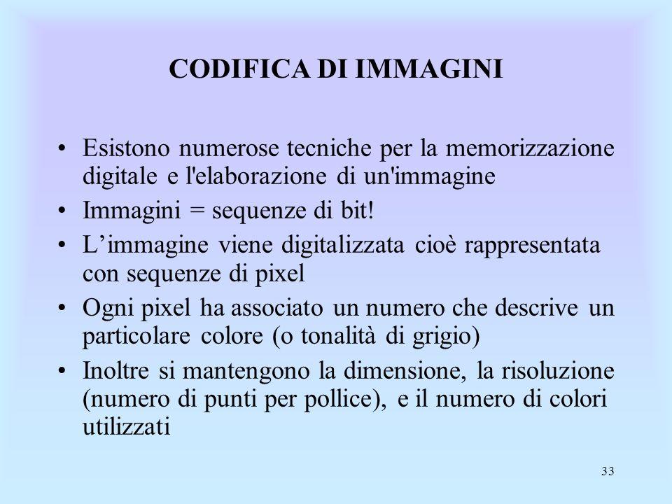 CODIFICA DI IMMAGINI Esistono numerose tecniche per la memorizzazione digitale e l elaborazione di un immagine.