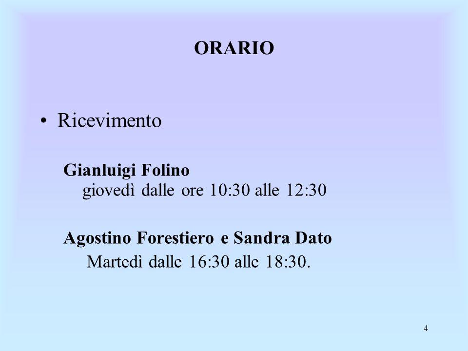 Ricevimento ORARIO Gianluigi Folino giovedì dalle ore 10:30 alle 12:30