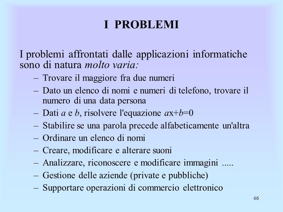 I PROBLEMI I problemi affrontati dalle applicazioni informatiche sono di natura molto varia: Trovare il maggiore fra due numeri.