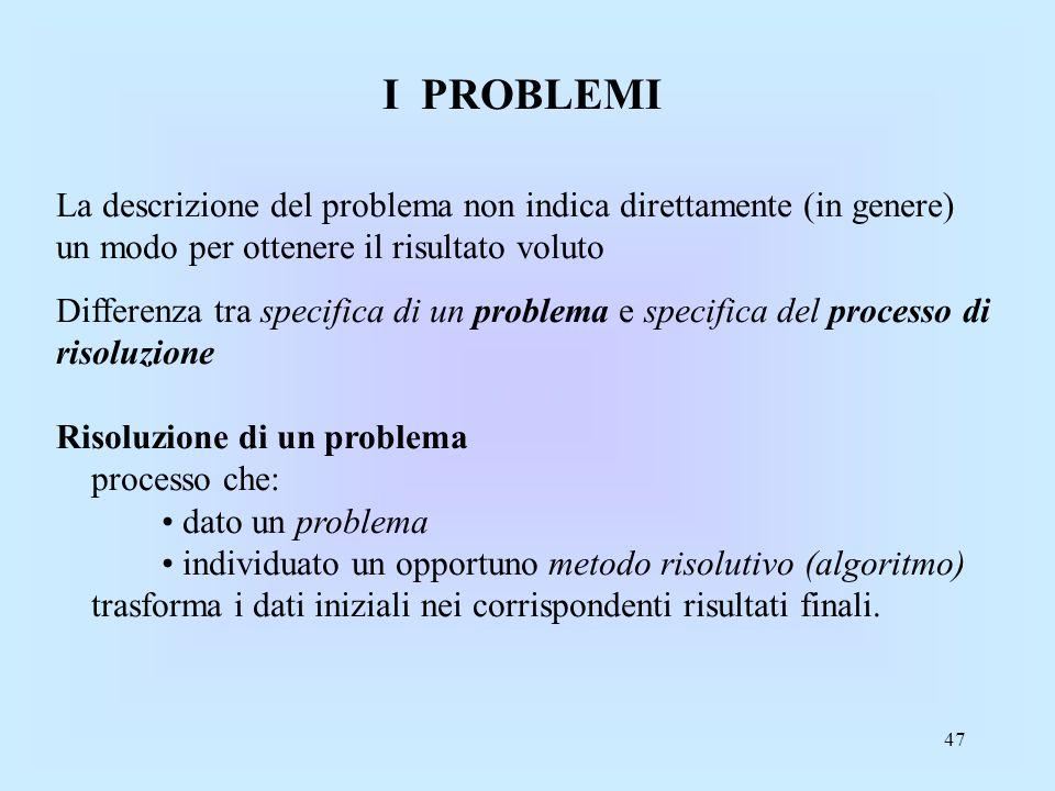 I PROBLEMI La descrizione del problema non indica direttamente (in genere) un modo per ottenere il risultato voluto.