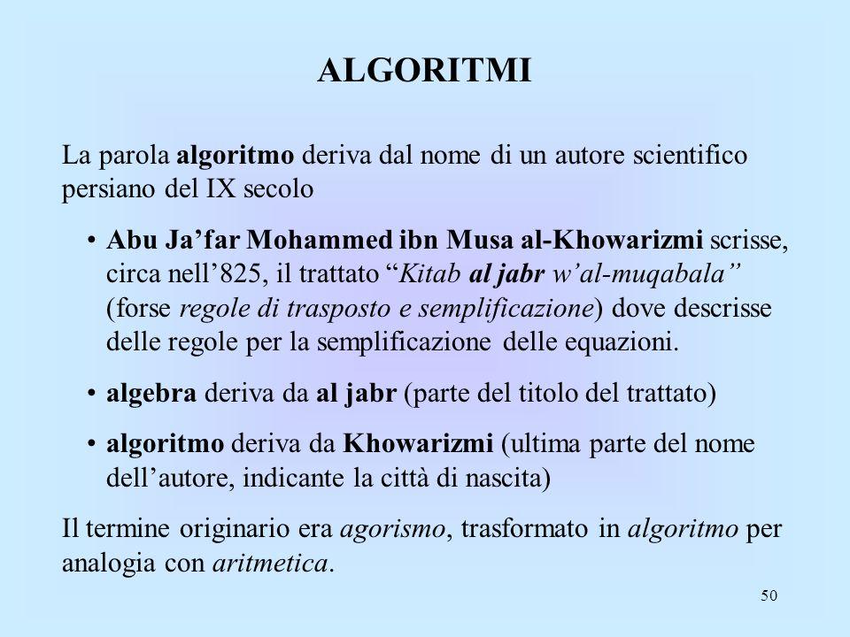 ALGORITMI La parola algoritmo deriva dal nome di un autore scientifico persiano del IX secolo.