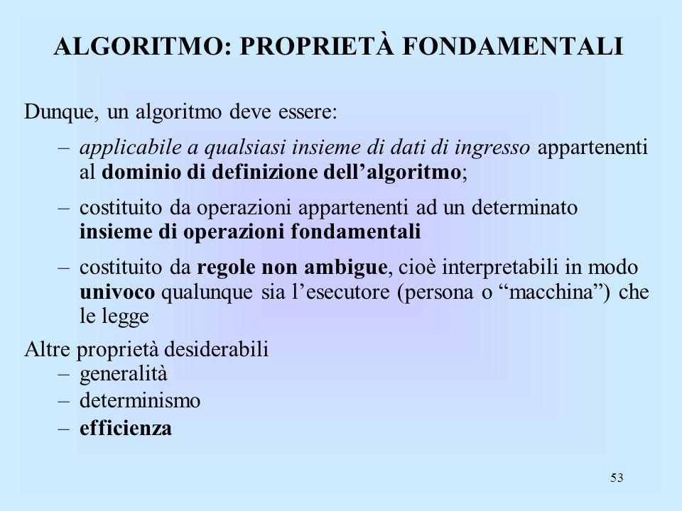 ALGORITMO: PROPRIETÀ FONDAMENTALI