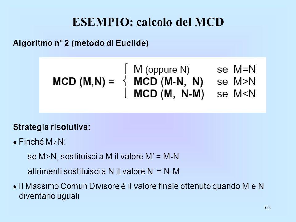 ESEMPIO: calcolo del MCD