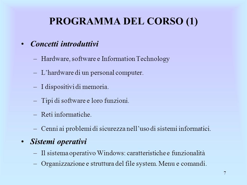 PROGRAMMA DEL CORSO (1) Concetti introduttivi Sistemi operativi