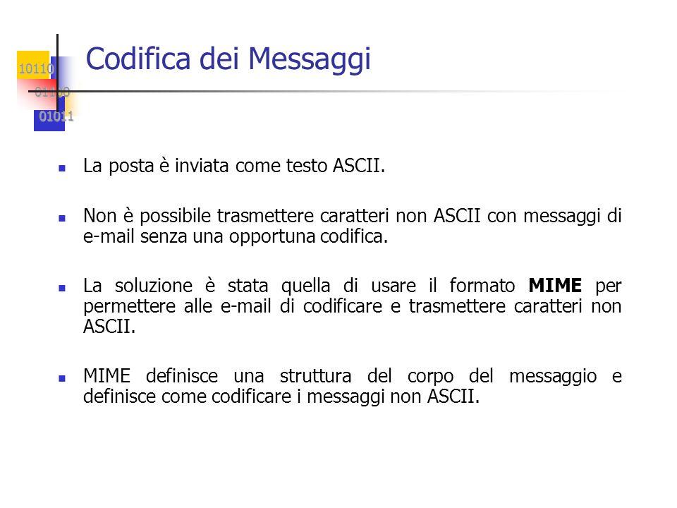 Codifica dei Messaggi La posta è inviata come testo ASCII.
