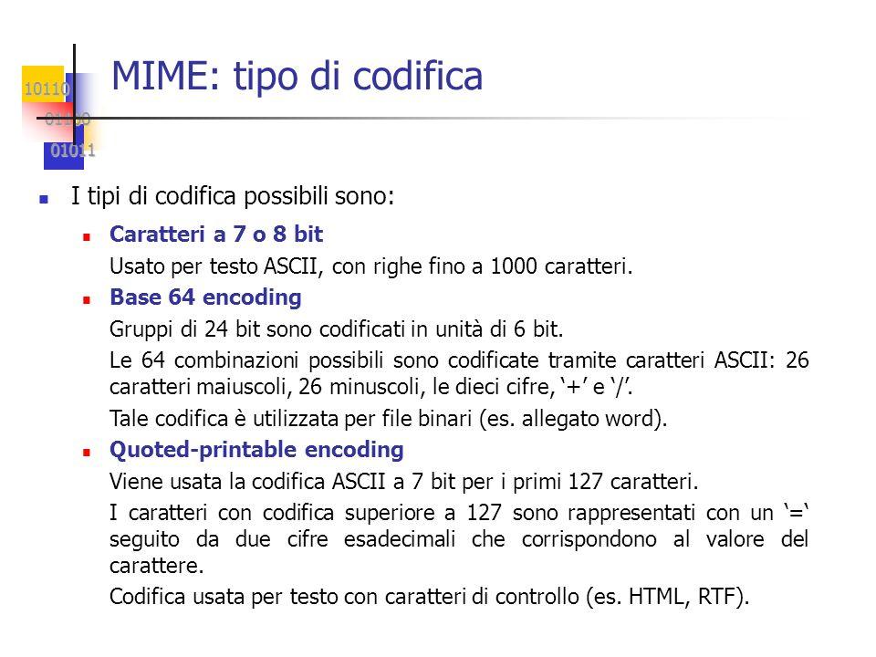 MIME: tipo di codifica I tipi di codifica possibili sono: