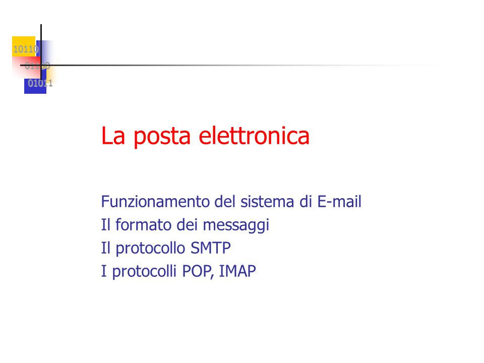 La posta elettronica Funzionamento del sistema di E-mail
