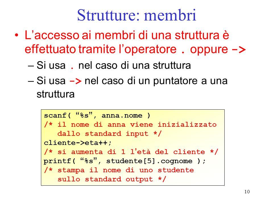Strutture: membri L'accesso ai membri di una struttura è effettuato tramite l'operatore . oppure ->