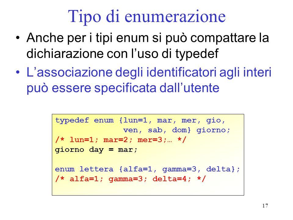 Tipo di enumerazione Anche per i tipi enum si può compattare la dichiarazione con l'uso di typedef.