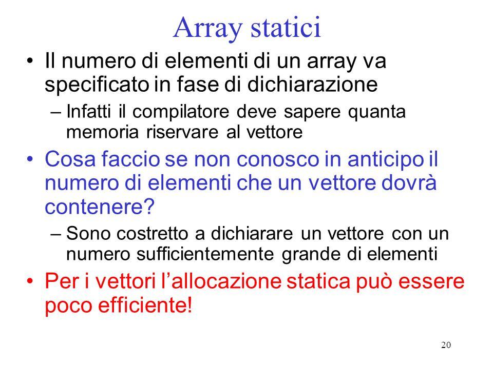 Array statici Il numero di elementi di un array va specificato in fase di dichiarazione.