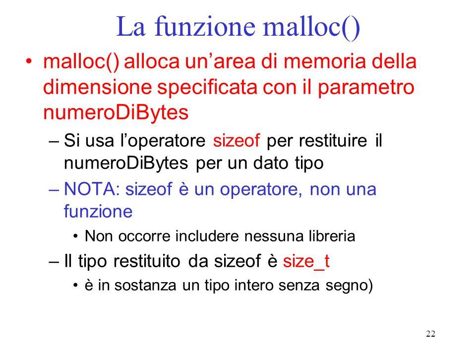 La funzione malloc() malloc() alloca un'area di memoria della dimensione specificata con il parametro numeroDiBytes.