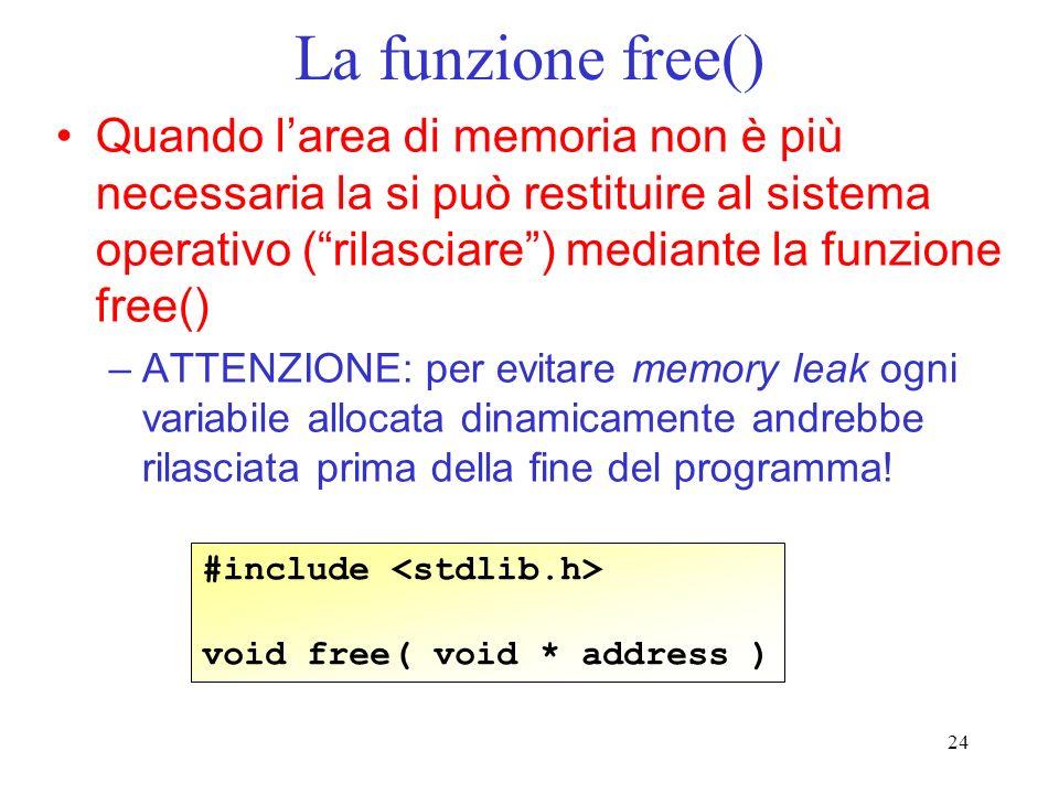 La funzione free() Quando l'area di memoria non è più necessaria la si può restituire al sistema operativo ( rilasciare ) mediante la funzione free()