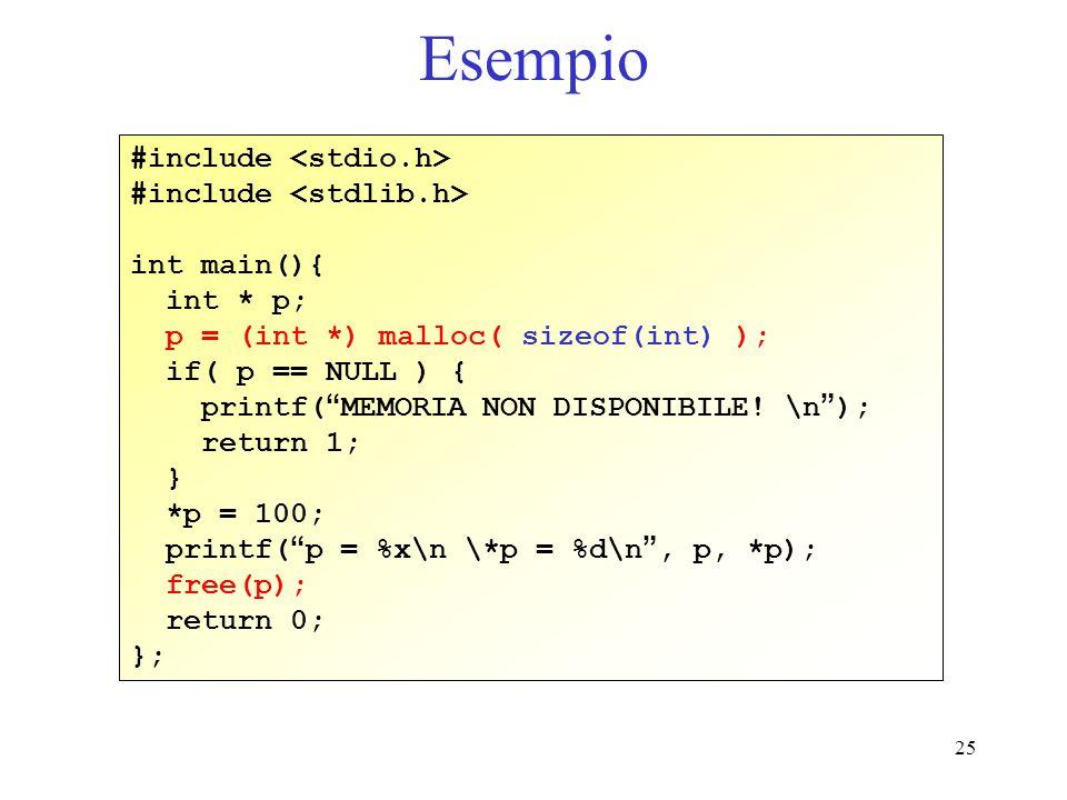 Esempio #include <stdio.h> #include <stdlib.h> int main(){