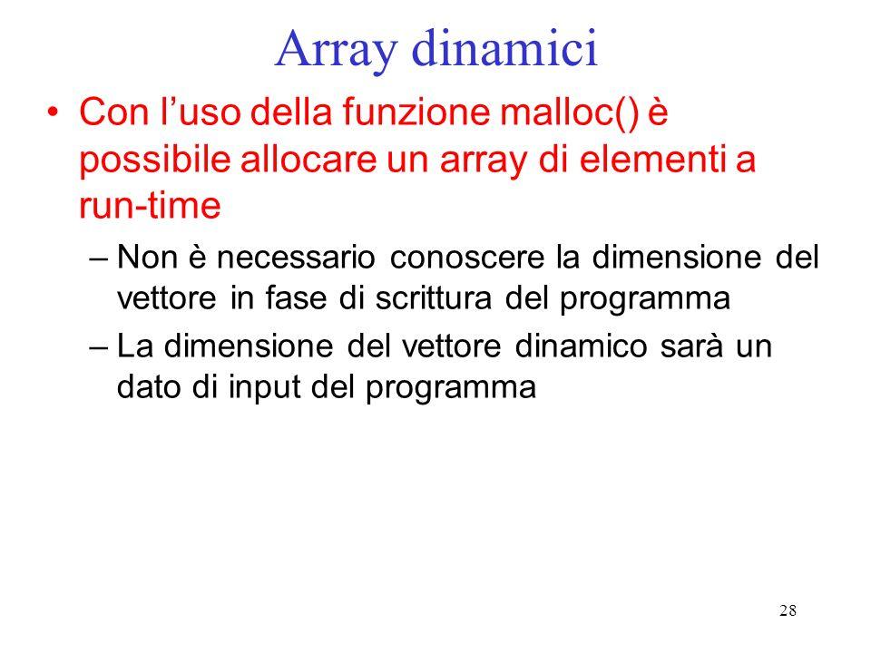 Array dinamici Con l'uso della funzione malloc() è possibile allocare un array di elementi a run-time.