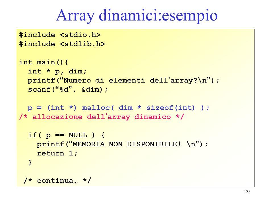 Array dinamici:esempio