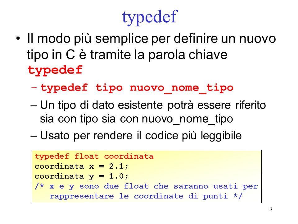 typedef Il modo più semplice per definire un nuovo tipo in C è tramite la parola chiave typedef. typedef tipo nuovo_nome_tipo.