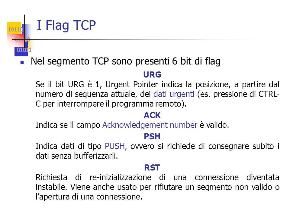 I Flag TCP Nel segmento TCP sono presenti 6 bit di flag