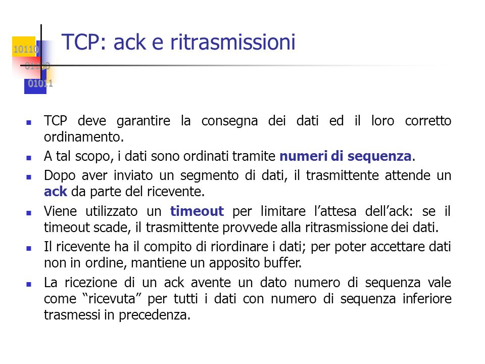 TCP: ack e ritrasmissioni