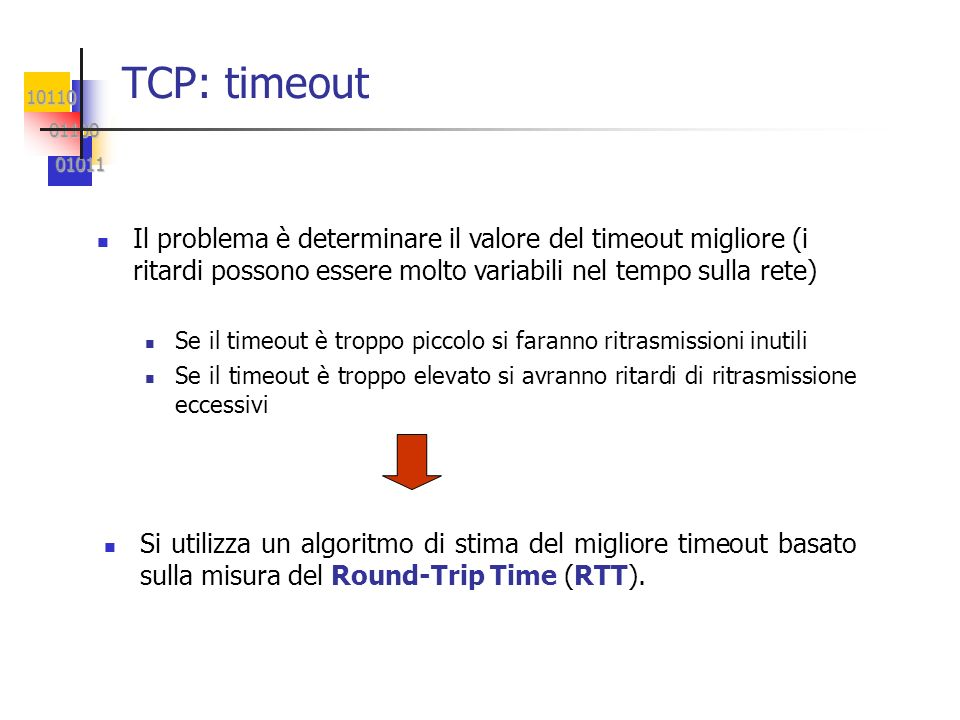 TCP: timeoutIl problema è determinare il valore del timeout migliore (i ritardi possono essere molto variabili nel tempo sulla rete)
