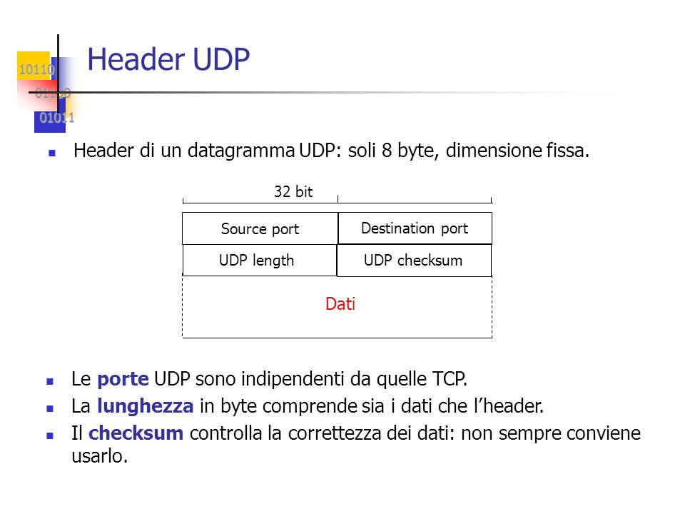 Header UDP Header di un datagramma UDP: soli 8 byte, dimensione fissa.