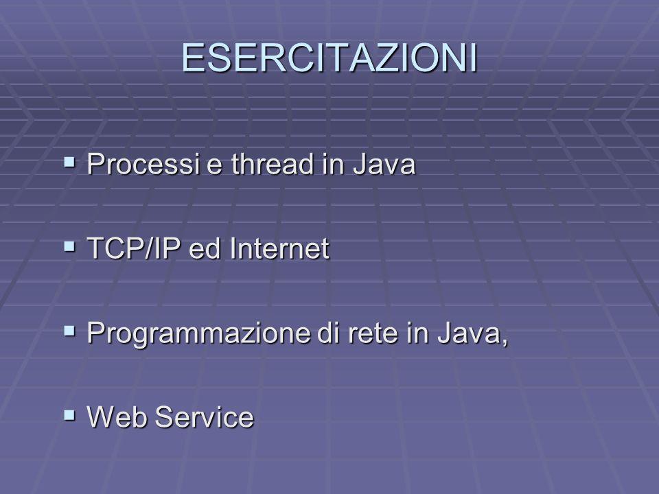 ESERCITAZIONI Processi e thread in Java TCP/IP ed Internet