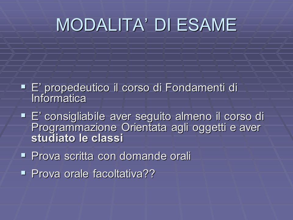 MODALITA' DI ESAME E' propedeutico il corso di Fondamenti di Informatica.