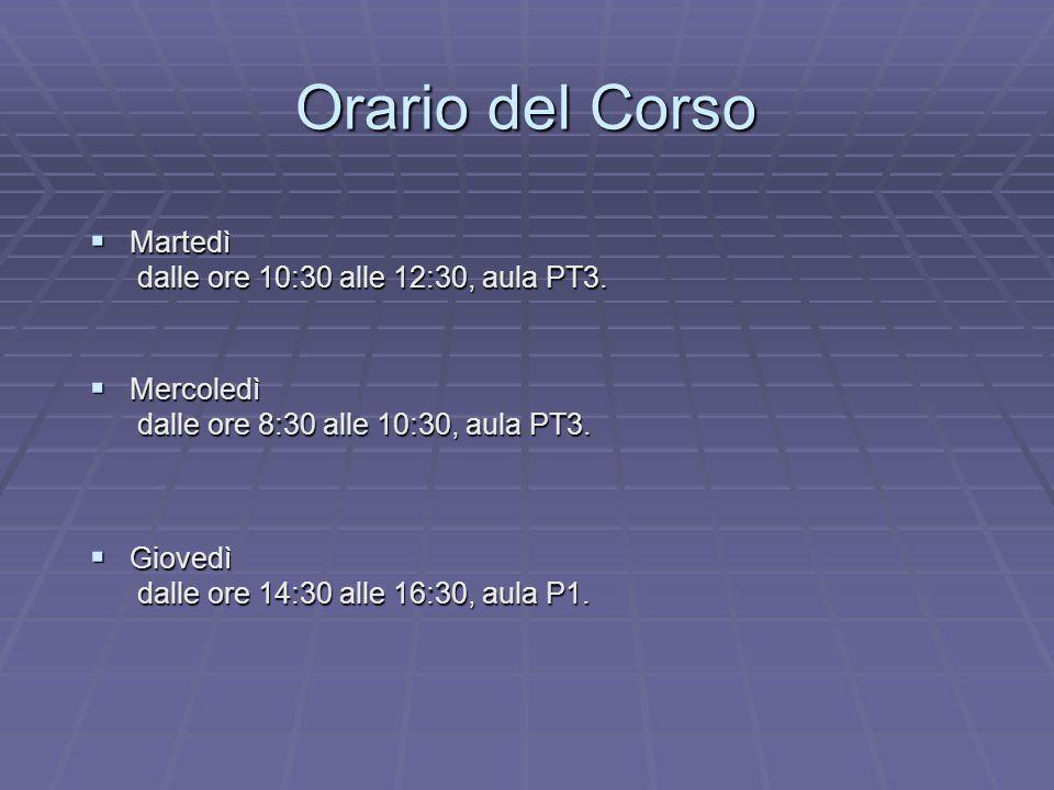 Orario del Corso Martedì dalle ore 10:30 alle 12:30, aula PT3.