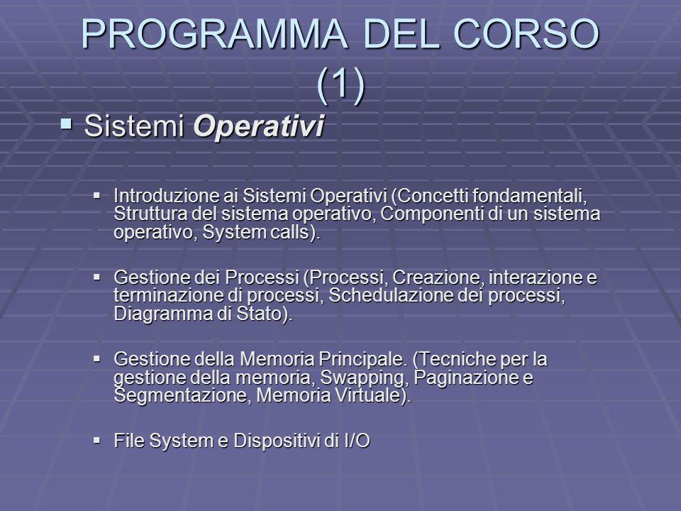PROGRAMMA DEL CORSO (1) Sistemi Operativi