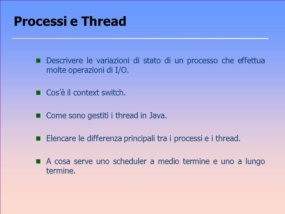 Processi e Thread Descrivere le variazioni di stato di un processo che effettua molte operazioni di I/O.