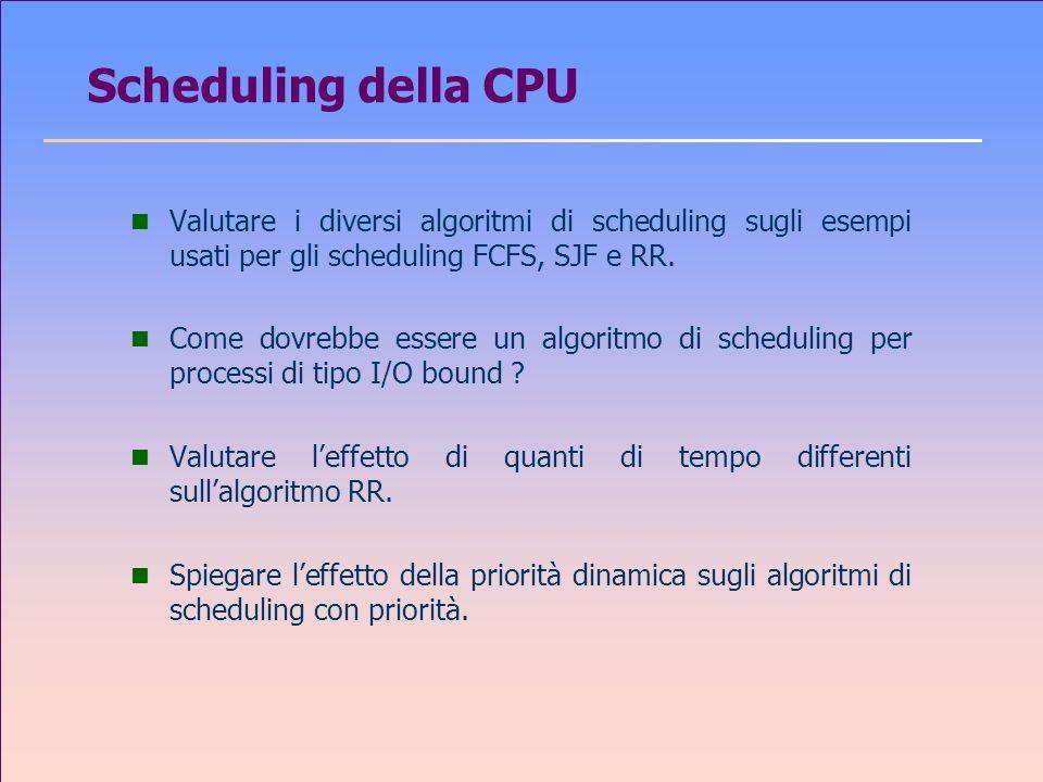 Scheduling della CPU Valutare i diversi algoritmi di scheduling sugli esempi usati per gli scheduling FCFS, SJF e RR.