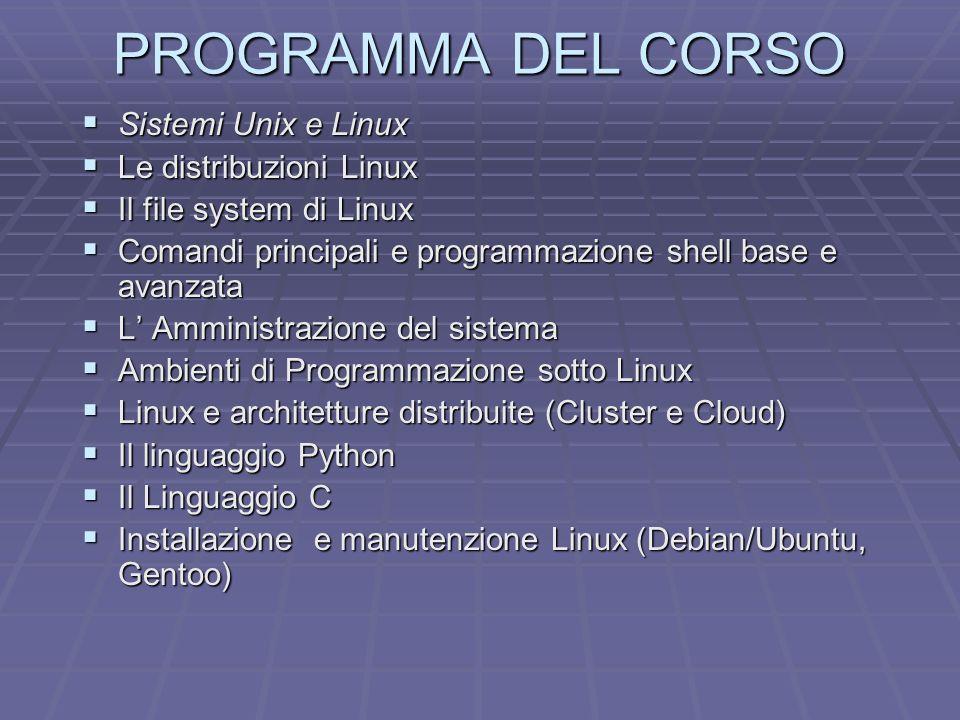 PROGRAMMA DEL CORSO Sistemi Unix e Linux Le distribuzioni Linux