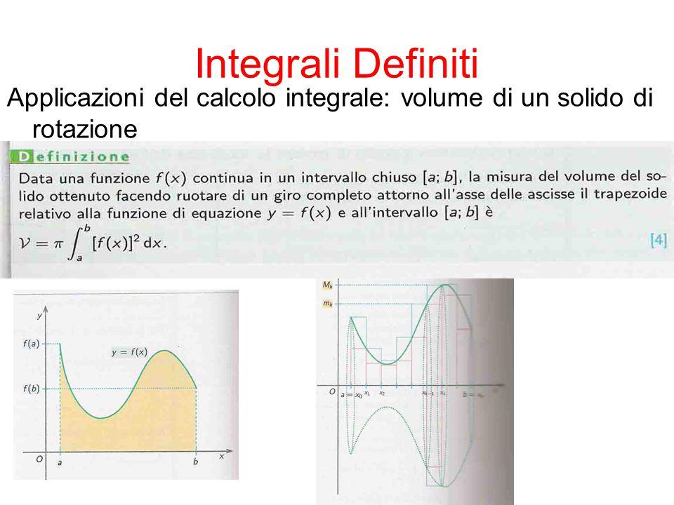 Integrali Definiti Applicazioni del calcolo integrale: volume di un solido di rotazione