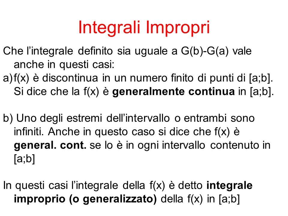 Integrali Impropri Che l'integrale definito sia uguale a G(b)-G(a) vale anche in questi casi: