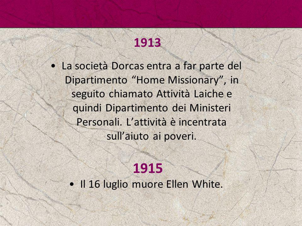 Il 16 luglio muore Ellen White.