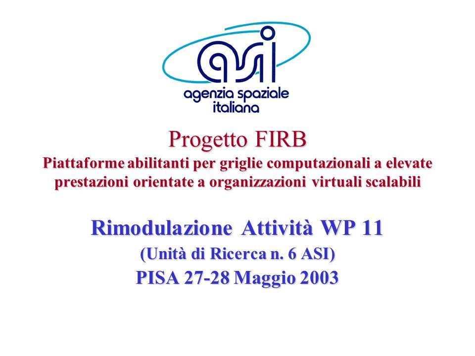 Rimodulazione Attività WP 11 (Unità di Ricerca n. 6 ASI)