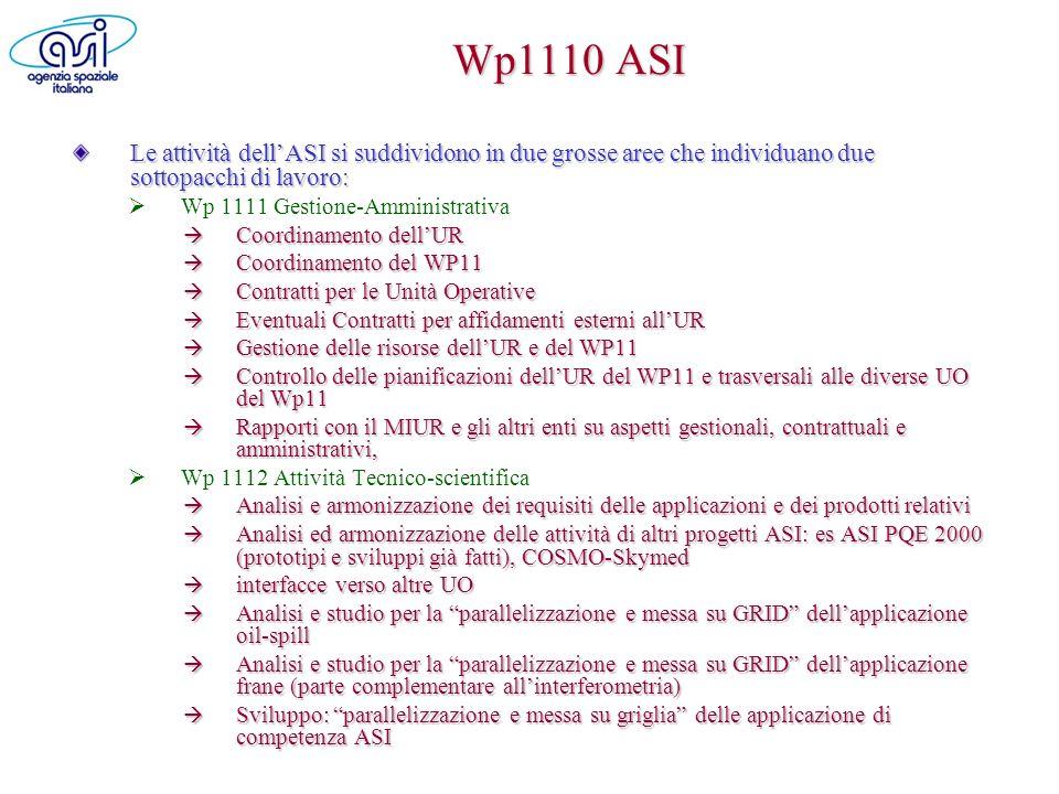 Wp1110 ASI Le attività dell'ASI si suddividono in due grosse aree che individuano due sottopacchi di lavoro:
