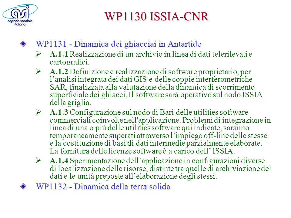 WP1130 ISSIA-CNR WP1131 - Dinamica dei ghiacciai in Antartide