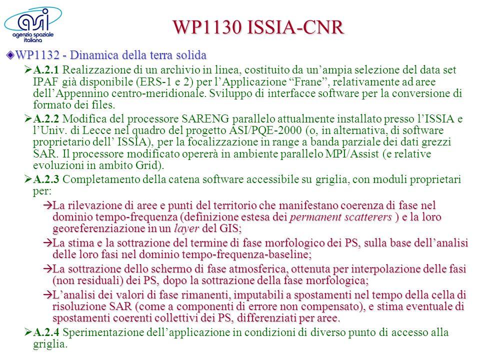 WP1130 ISSIA-CNR WP1132 - Dinamica della terra solida